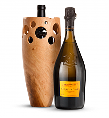 Wine Accessories & Decanters: Veuve Clicquot La Grande Dame Champagne 2008 with Handmade Wooden Wine Vase