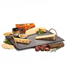 Cheese, Charcuterie Gifts: Slate Serving Board with Artisan Cheeses