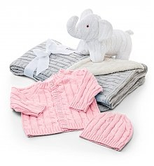 Baby Gift Baskets: Welcome Baby Cable Knit Set