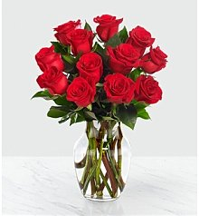 Flower Bouquets: One Dozen Red Roses with Vase