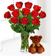 Flower Bouquets: Red Roses and Hugs with Vase