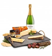 Cheese, Charcuterie Gifts: Slate Serving Board with Artisan Cheeses & Dunlin California Brut