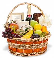 Wine & Fruit Baskets: Congratulations Champagne and Gourmet