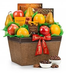Fruit Baskets: Premium Grade Fruit and Godiva Thank You Collection